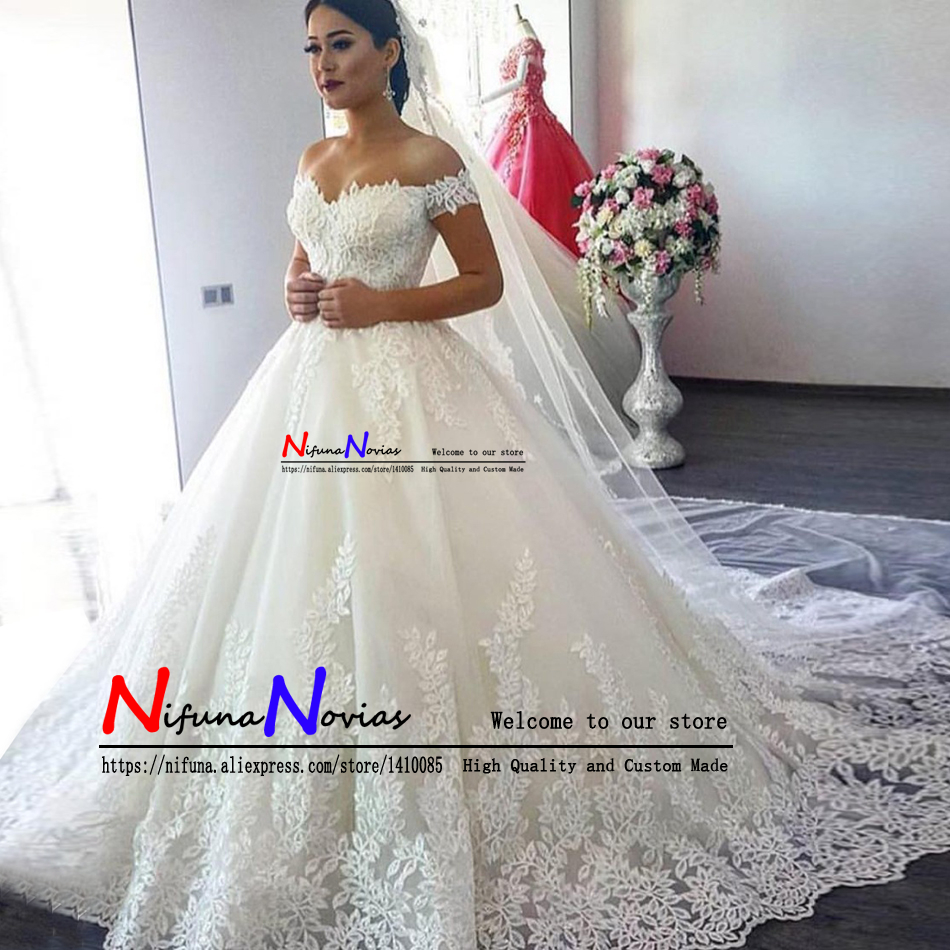 Vestido de Noiva 2019 Sexy Princess Wedding Dresses Off the Shoulder Sweetheart Lace Puffy Ball Gown