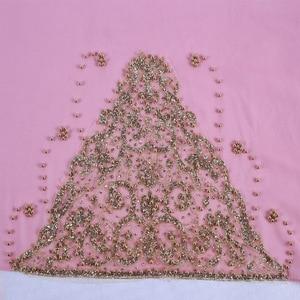 Image 5 - 새로운 도착 프리미엄 버블 쉬폰 hijab 스카프 이슬람 여성 골드 진주 반짝이 이슬람 turban 머리띠 시니 목도리 170*70cm