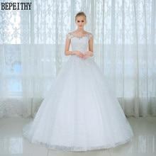BEPEITHY Scoop Beads Cap Sleeve Wedding Dresses 2019