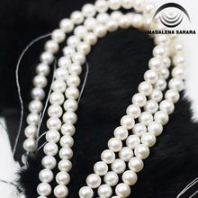 MADALENA SARARA AAA Freshwater Pearl Necklace Strand Natural White Micro Flaw Perfect Round 8.0mm For Jewelry Making(China)