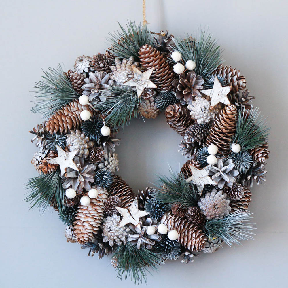 Winter Rustic Xmas Hangings Home Decoration Accessories Christmas Decorations For Home White Snow Wreath With Stars Wreath Door