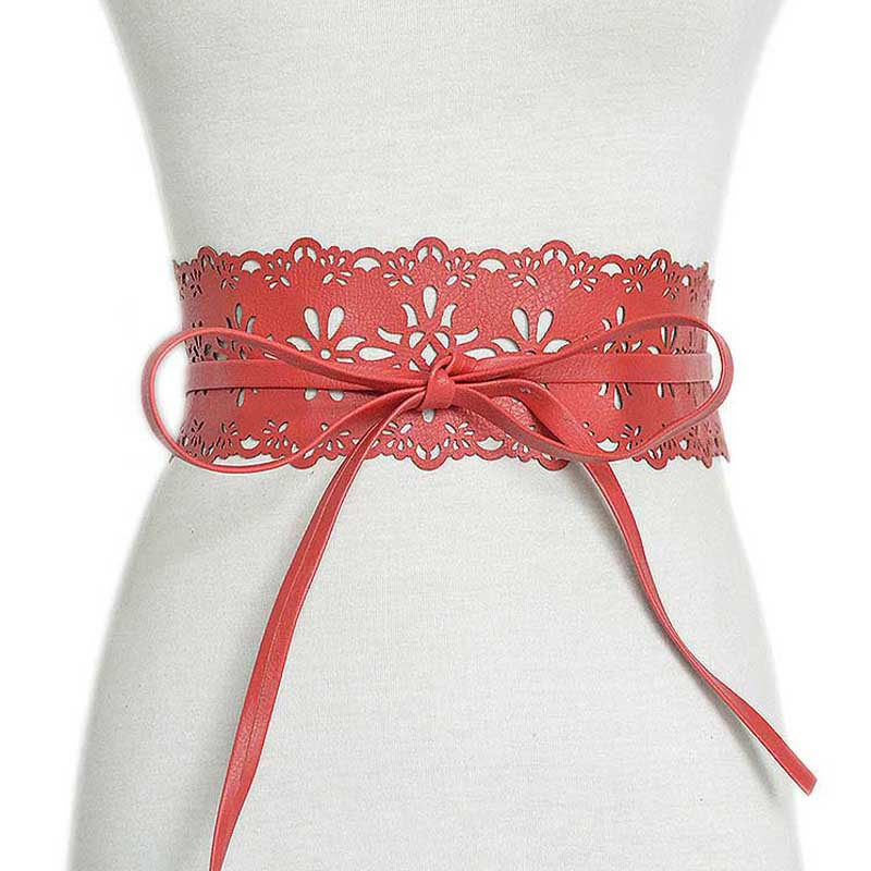 Female Belt New Imitation PU Leather Lace Floral Wide Belts For Women Fashion Bow Bandage Red Cummerbunds Women Dress Belt
