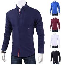 Men Shirts Slim Fit Shirt Men Fashion Business Casual Long S