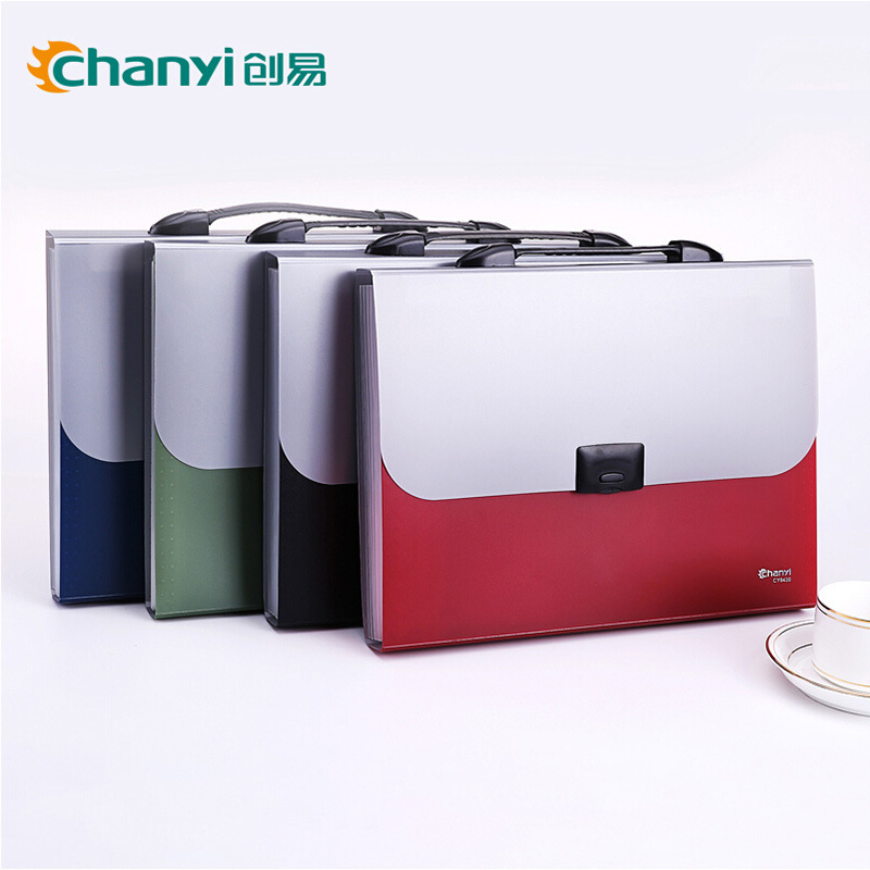 Chuangyi A4 File Folder 13 Index Pockets Layers Document Study Working Metallic color Expanding Wallet Organizer School Bag simple plastic 5 section index band folder document file storage organizer filling stationery a4 size expanding wallet 4 colors