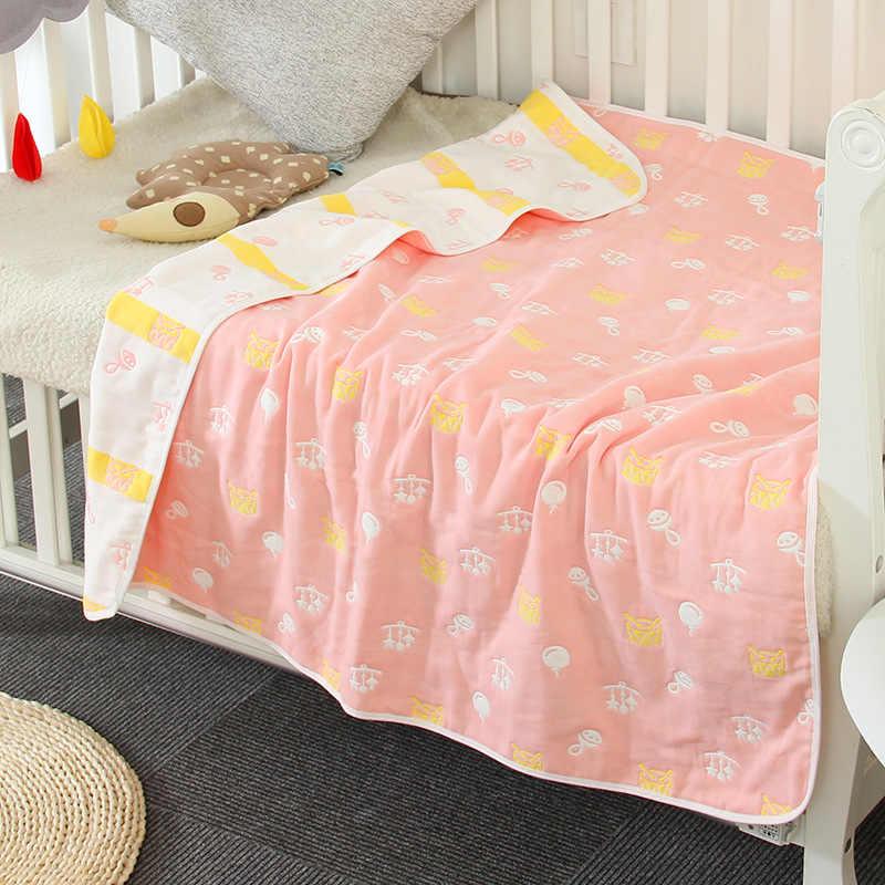 6 слоев детское постельное белье мягкое воздухопроницаемое одеяло муслин хлопковые детские одеяла новорожденное младенческое пеленание ребенка банное полотенце коляска обертывание