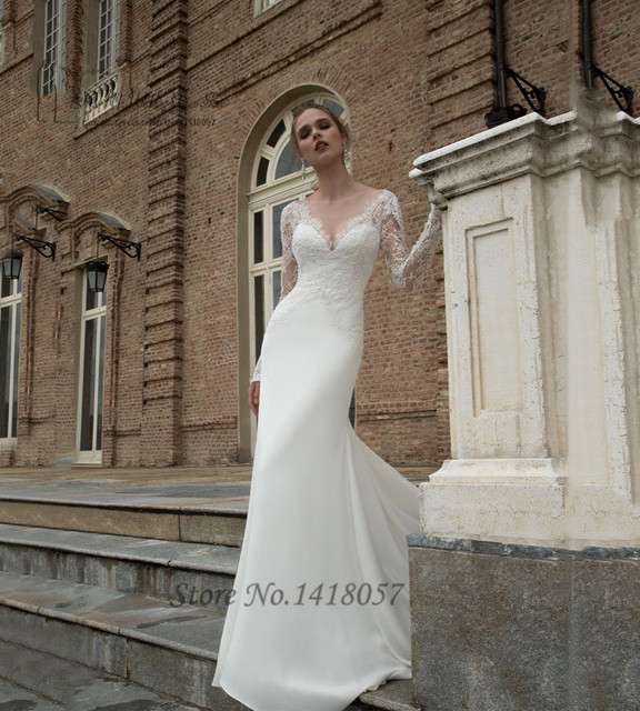 127e8c337d017 US $136.0 |Russian Style Sexy Berta Bridal Dresses V Neck Long Sleeve  Wedding Dress Lace 2016 Mermaid Wedding Gowns Ivory Brush Train-in Wedding  ...