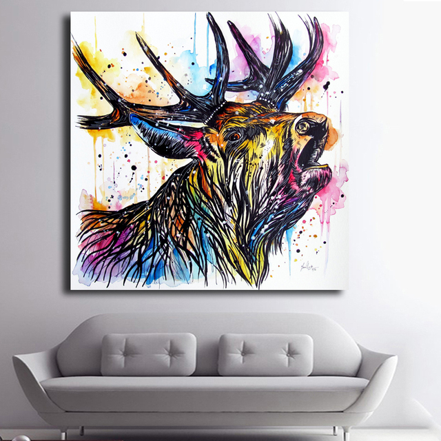 Merveilleux Hotsell Colourful Deer Head Cheap Art Pictures Modern Abstract Animal  Painting Wall Art Pictures For Living