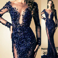 Luxury Long Sleeve Mermaid Floor Length Evening Dress Sexy See Through Lace Appliques Beaded Prom Gown for Wedding Party