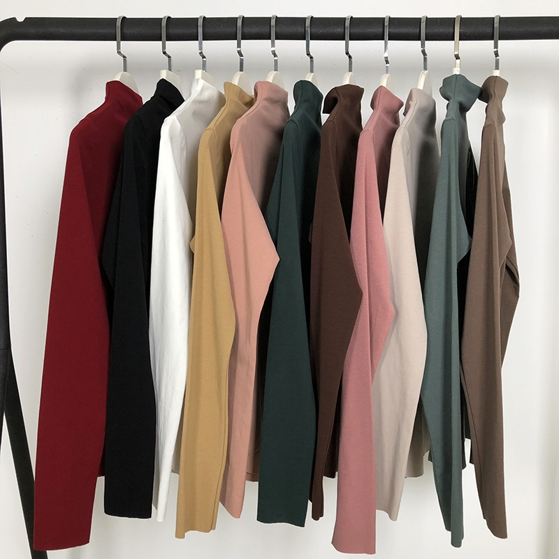 Spring Autumn Fashion Women Solid Basic T-shirt Long Sleeves Turtle Neck Solid T Shirts For Women Casual Tees Tops Female Shirts