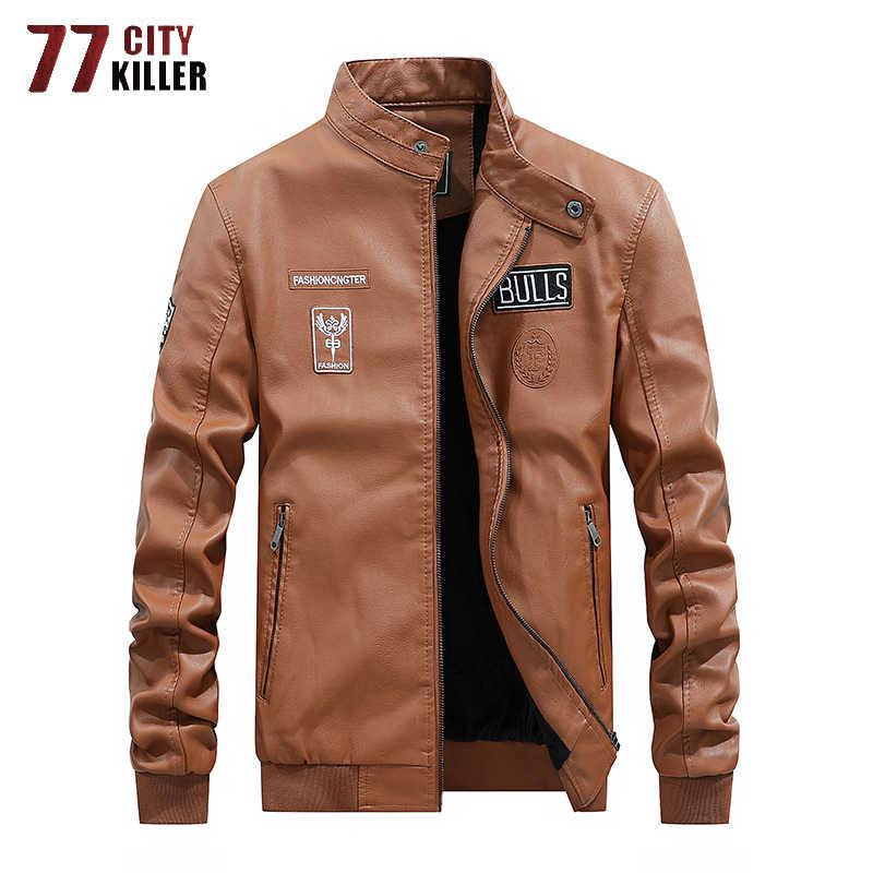 2019 новая кожаная куртка Для мужчин мотоцикл флис лайнер кожаные мужские из полиуретана куртки верхняя одежда ветровка пальто из искусственной кожи мужские M-4XL