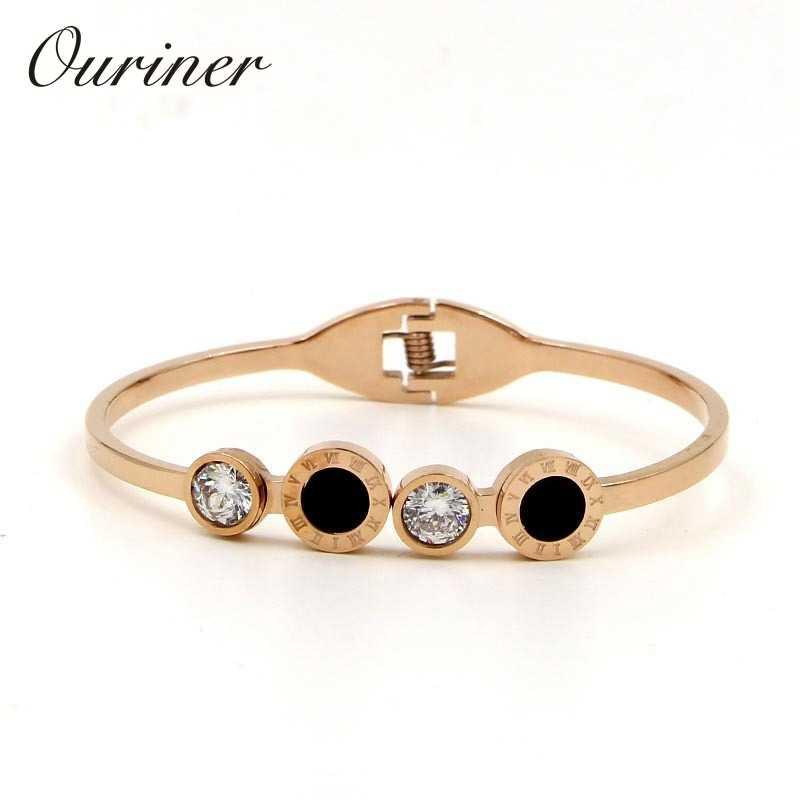 יוקרה קלאסית מותג שחור אהבת צמידים & צמידי זהב-צבע רומי ספרות זירקון עגול קריסטל צמידים לנשים K0109