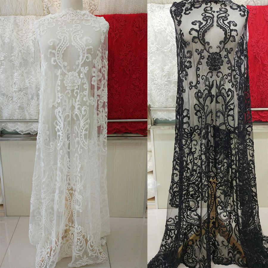 1/5yards off white/black super Heavy beaded on tulle french lace guipure lace elegent wedding dress beaded lace bridal fabric
