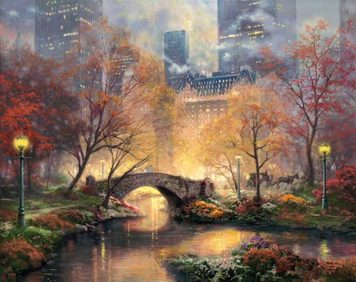 free shipping classical Thomas light red tree city scenery canvas prints oil painting printed on canvas art decoration picture
