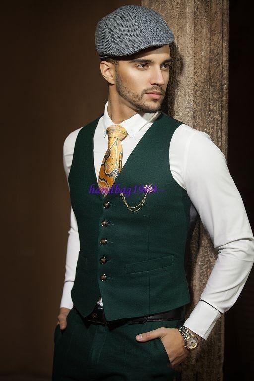 Hot Recommend Dark Green Groom Tuxedos Notch Lapel Men Blazer Prom ...