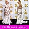 Beyonce Dress at Grammy Awards Red Carpet manga larga Lace desnuda espalda abierta Sexy opacidad Celebrity vestido de noche Formal