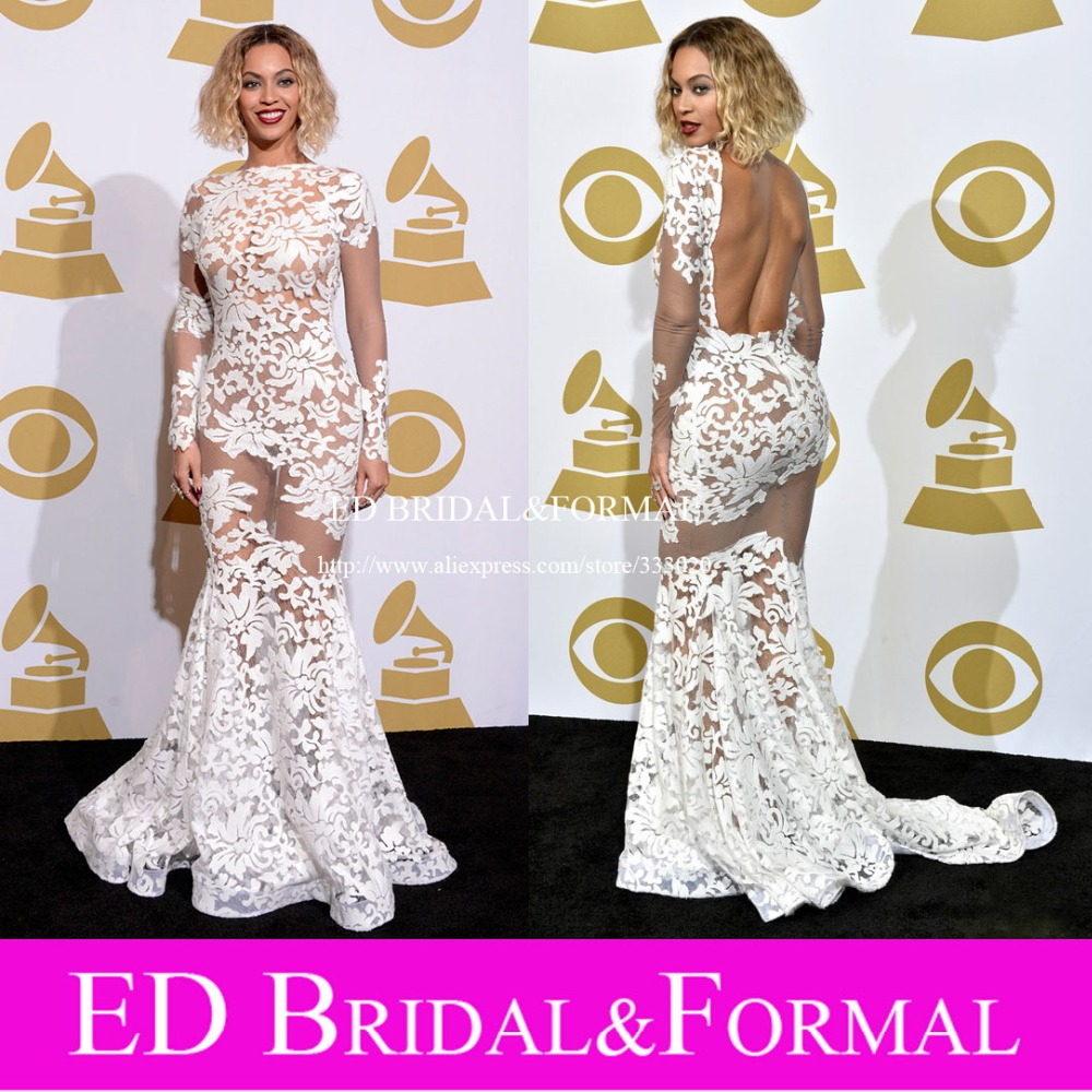 Beyonce font b Dress b font at Grammy Awards Red Carpet Long Sleeve Lace Nude Open