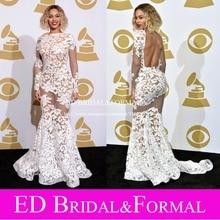Beyonce Kleid zu Grammy Awards Roter Spitze Nude Open Back Sexy Durchsichtig Celebrity Formal Abendkleid
