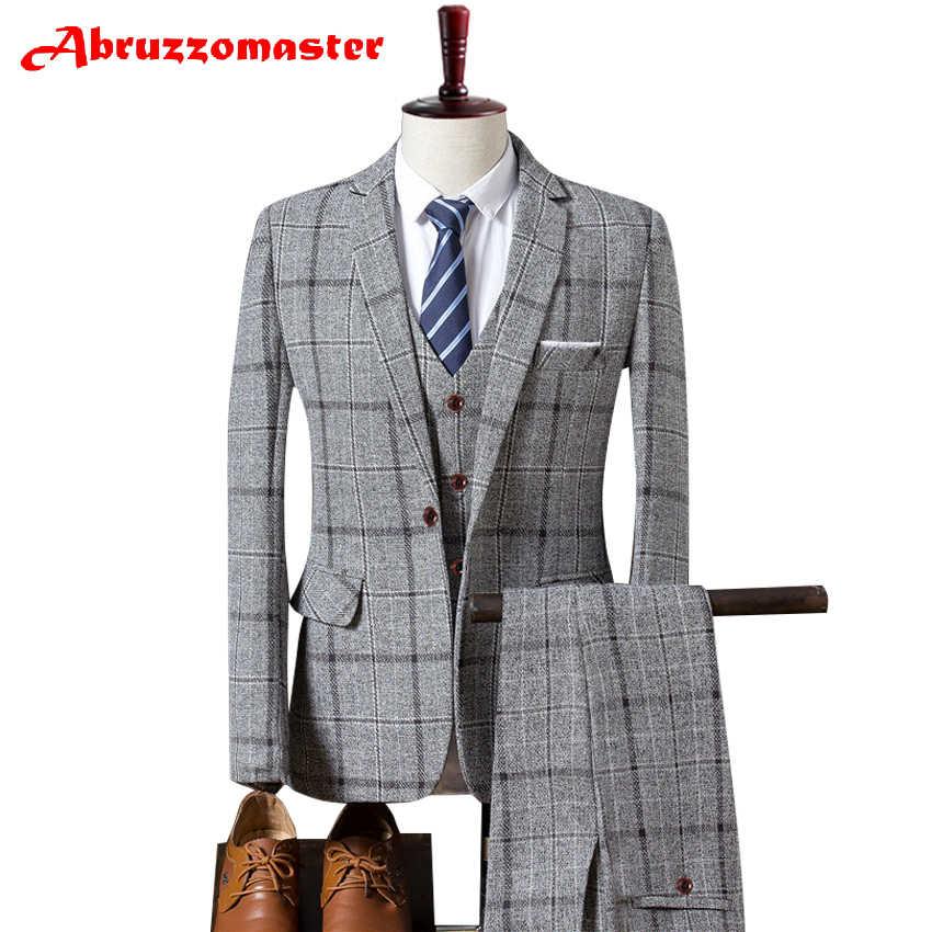 Plaid costume Plaid costume veste comme marié Tuxedos Check Groomsman costume sur mesure homme costume Tweed homme vêtements (veste + pantalon + gilet)