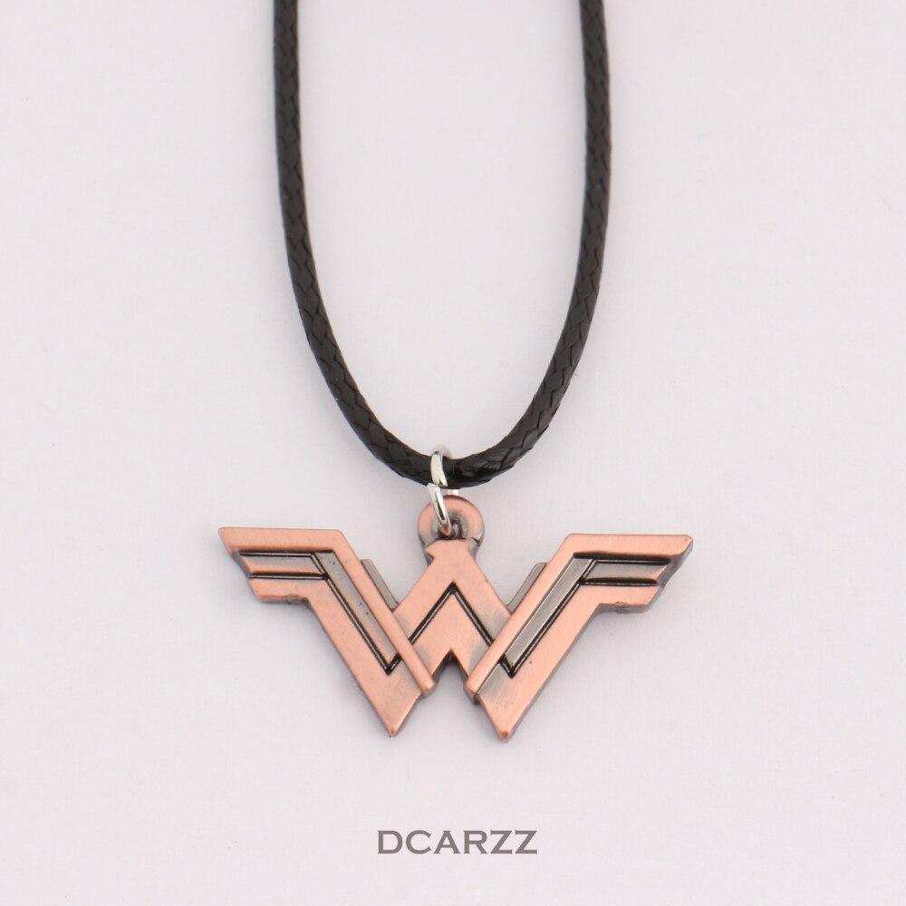 2 цвета DC Wonder Woman логотип кулон комиксов Geek Цепочки и ожерелья с кожаным шнуром Marvel Super Heroes ювелирные изделия