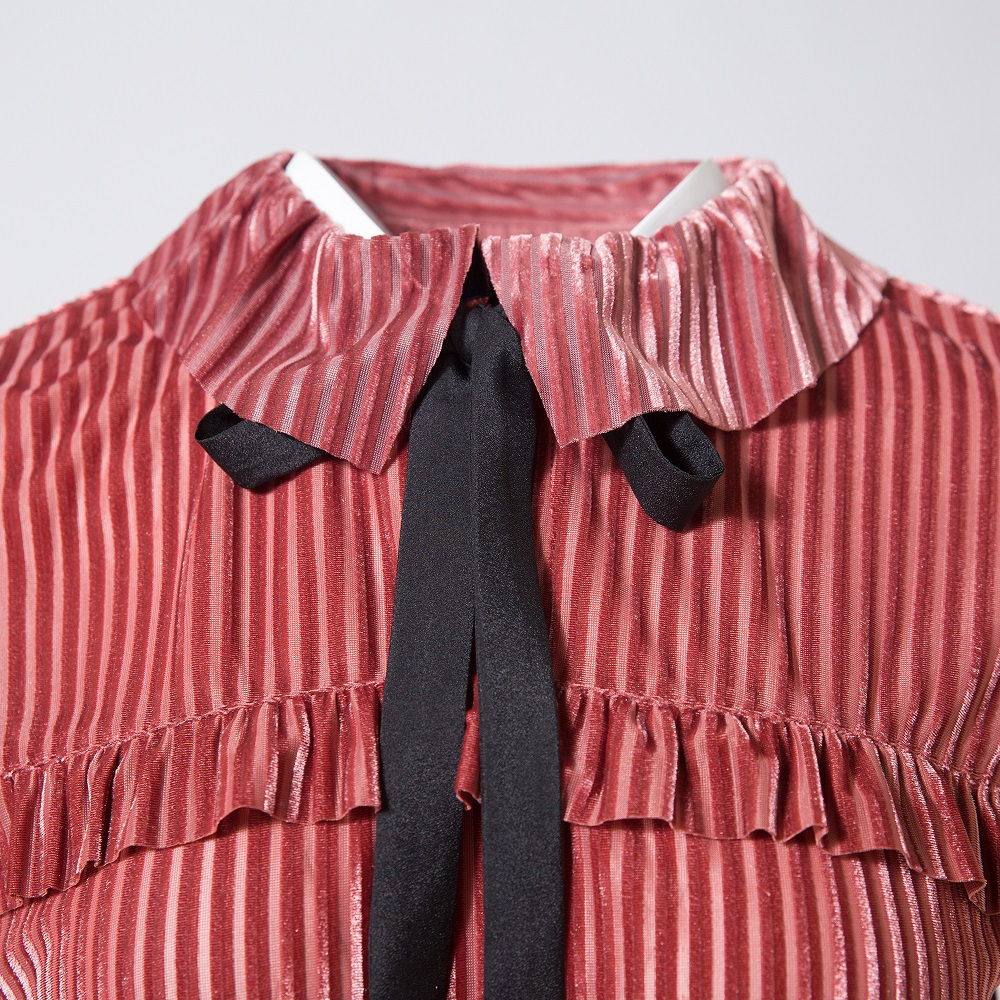 Terciopelo Lolita Camisas Peter Arco Red Oficina Plus Otoño Lindo Coreano Zevrez Collar Blusa De Las Tamaño Mujer Mujeres Pan Volantes Manga Z1EwxPqXnF