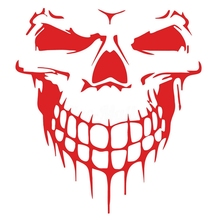 40x36CM Skull Head Car Stickers Decals Reflective Vinyl Funn