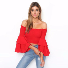 Summer Europe New Fashion Personality Sexy Pleated Short Bell Sleeve Womens Tops
