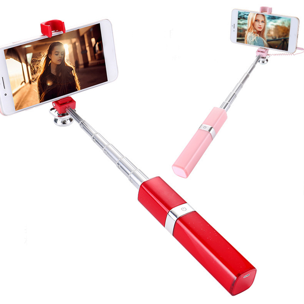 Cewaal Alloy Lip Color Take Photo Show Lipstick Selfie Stick Flexible Selfie Stick Take Photo Stick Monopod Indispensable Camera