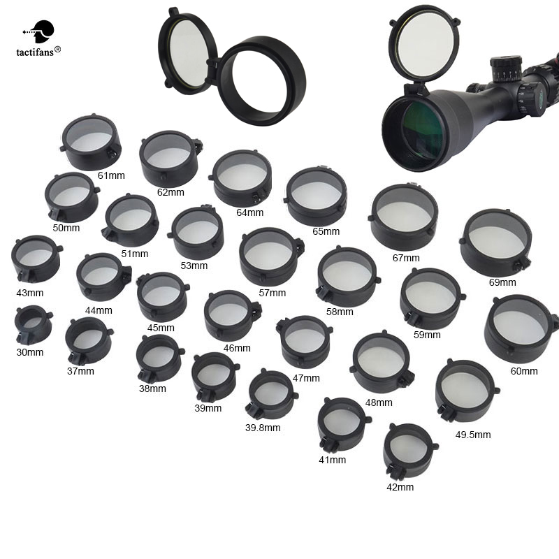 Quick Flip Spring Up Open Gun Lens Cover Through See-thru Riflescope Rifle Scope Protect Objective Hunting Paintball Accessories