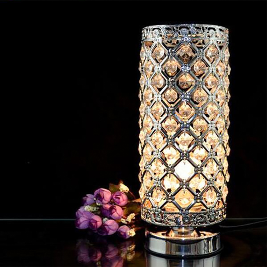 ФОТО Romantic Wedding Gift Bedside LED Table Lamps Vintage Luxury Crystal Glass Desk Lamp Living Room Bedroom Decor Lighting