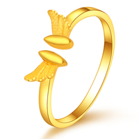 Real 24K Yellow Gold Ring Women Wing Open Ring Stamp 999