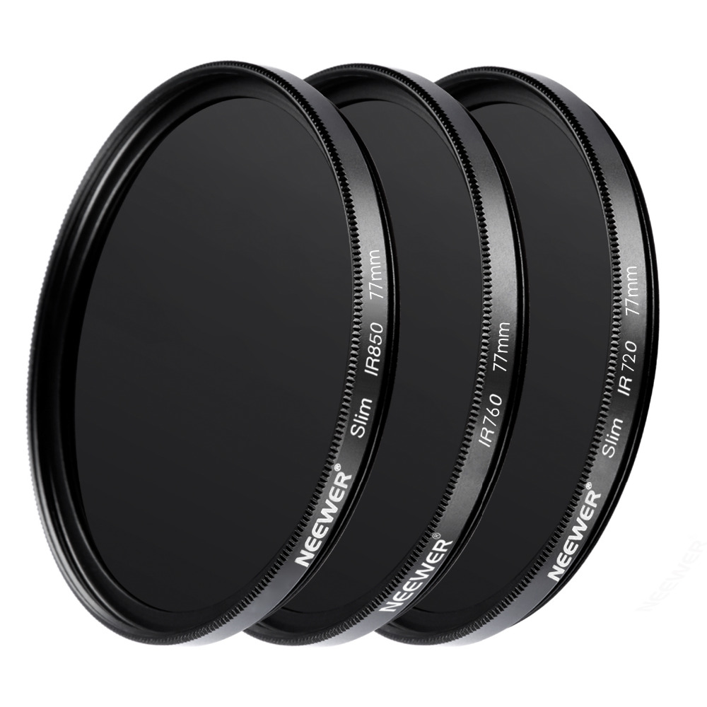 Neewer 3 Pieces 77MM Optical Glass Infrared IR Filter Kit for Sony Canon Nikon Olympus Pentax Panasonic DSLR Cameras