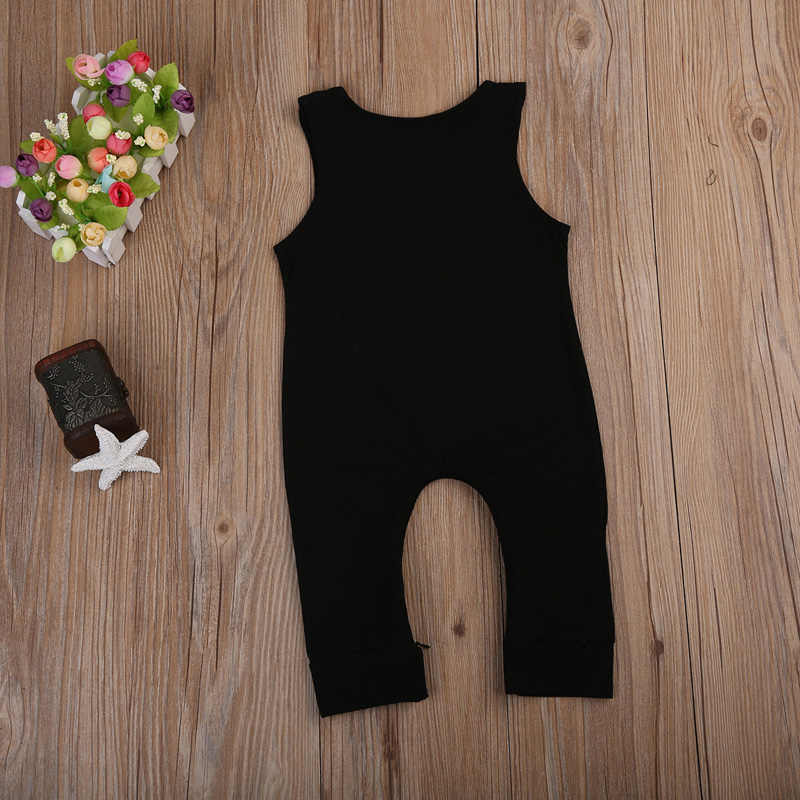 05b35ed0889 ... 2018 Cotton Newborn Kidsd Baby Boy Girls crown Romper Black Sleeveless  Jumpsuit Clothes Outfits Baby Clothing
