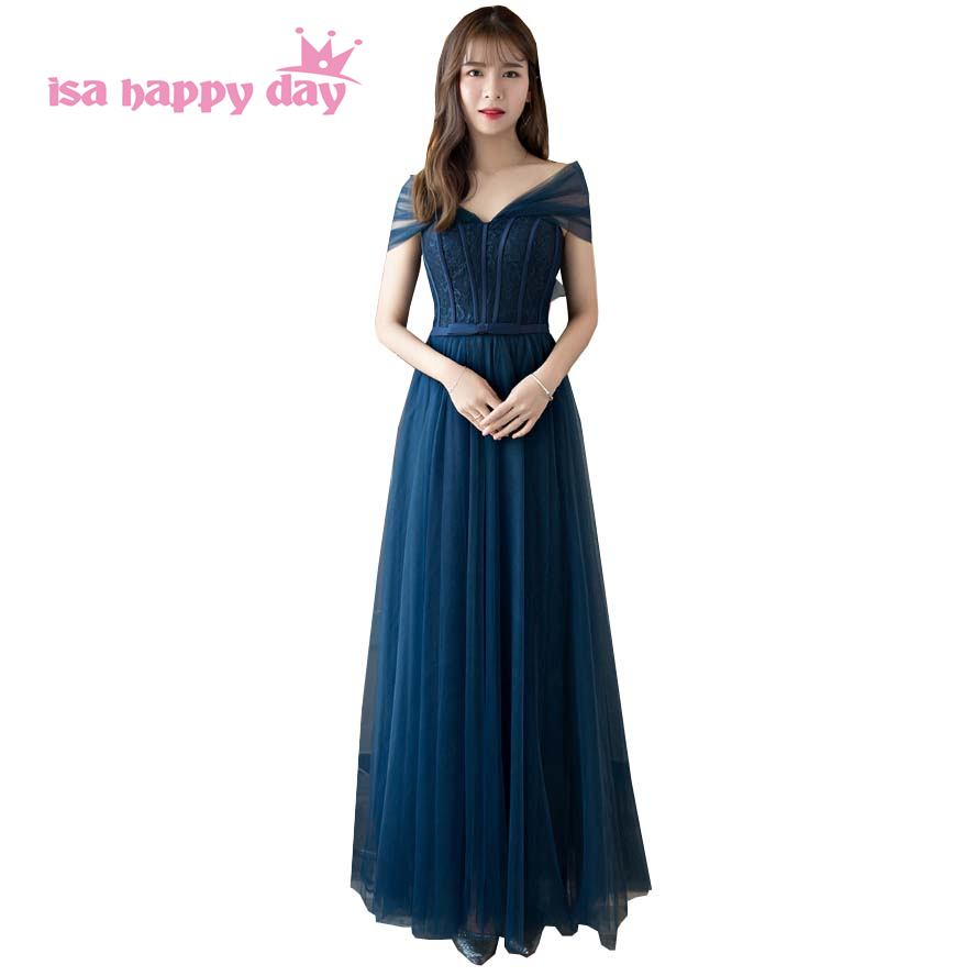 teen fashion romantic long ball gown strapless bridal navy blue bridesmaid dresses ball gowns bridemaid party bridal dress H4157