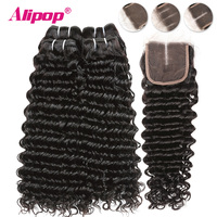 Deep Wave 2/3/4 Bundles With Closure Brazilian Hair Weave Bundles Alipop Remy Hair Closure With Bundles Human Hair With Closure
