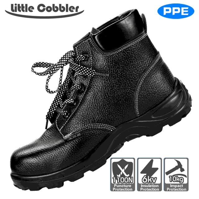 Erkek Kadın Güvenlik Çelik Ayak iş ayakkabısı Deri Çizmeler Nefes Poliüretan Kauçuk Delinme Dayanıklı Iş Sigortası Ayakkabı
