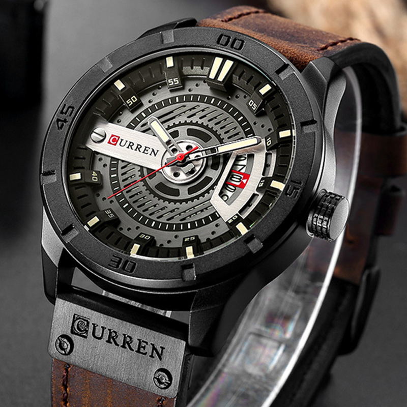 все цены на Relogio Masculino CURREN Mens Watches Top Brand Luxury Leather Fashion Casual Sport Clock Quartz Watch Men Military Wristwatches