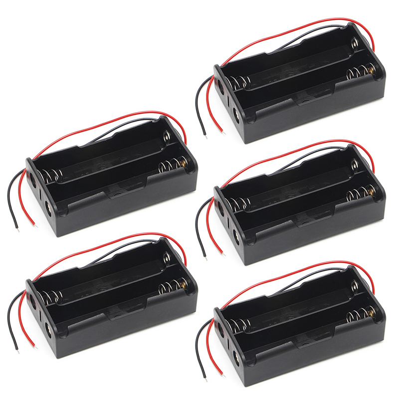 New 5 Pcs <font><b>3x18650</b></font> Rechargeable Battery 3.7V Clip Holder Box Case With Wire Lead image
