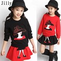 Children's clothing 2016 spring female child set child spring and autumn long-sleeve sweatshirt short skirt twinset