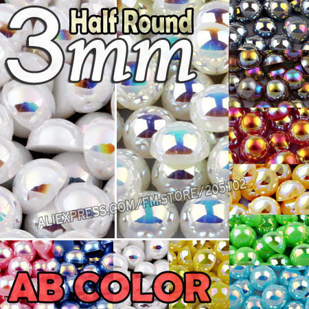 3mm 1500pcs/Lot Mix Colors AB Half Round Flat back Beads imitation ABS beads for DIY Nail Art decor Fashion Jewelry Accessory