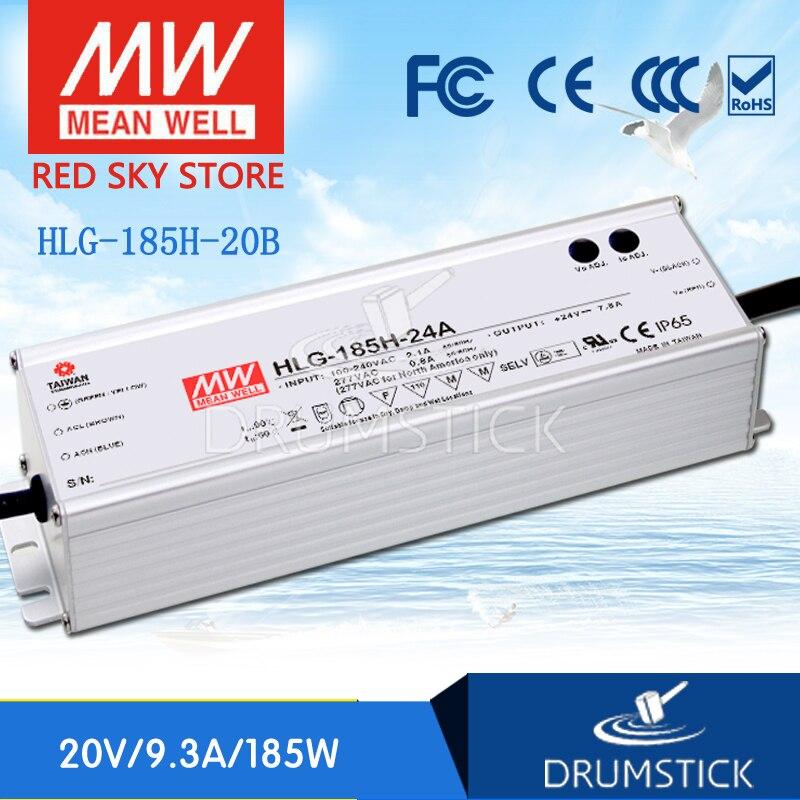 цена на MEAN WELL HLG-185H-20B 20V 9.3A meanwell HLG-185H 20V 186W Single Output LED Driver Power Supply B type