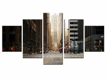 5 pieces / set of City street view wall art for decorating home Decorative painting on canvas in paint framed/XC-city-62