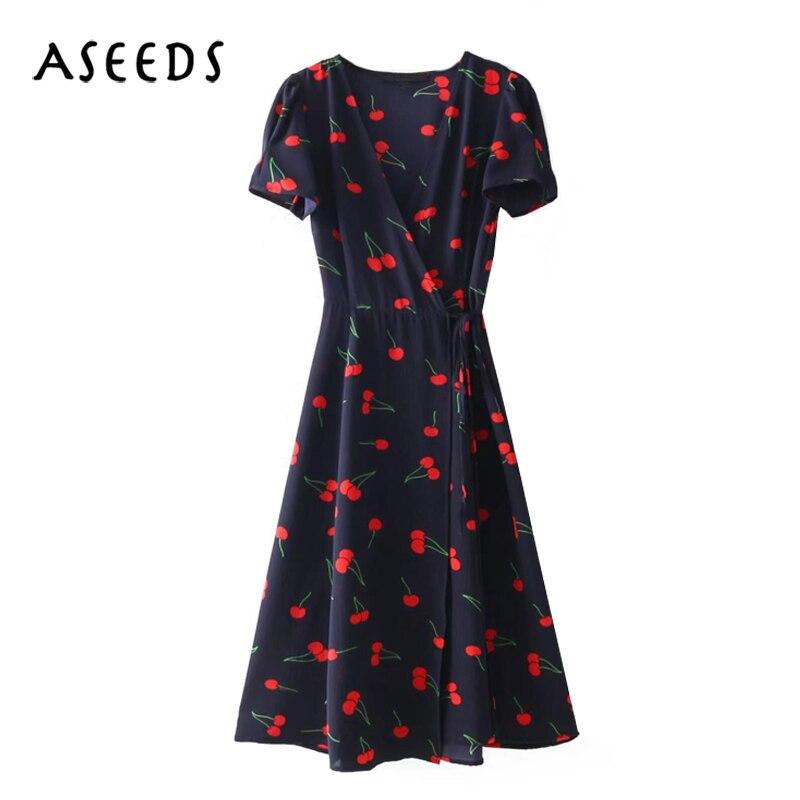 2018 elegant cherry print bohemian beach dress women Summer dress Sexy deep  v neck short sleeve party dress Girl kawaii vestidos-in Dresses from Women s  ... 143b109d440c