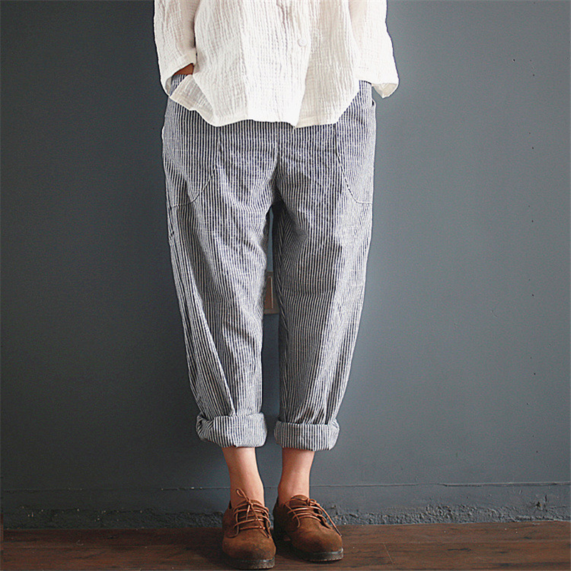 Spring women grey Striped Radish pants trousers Elastic Waist Loose Cotton Linen Female with Pockets Vinage Casual long pants