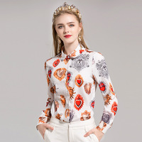 2017 New Arrival Women Autumn Winter Long Sleeve Turn Down Collar Vintage Print Blouses And Shirts