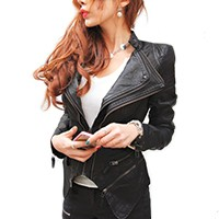 snake studded shoulder pu leather jacket