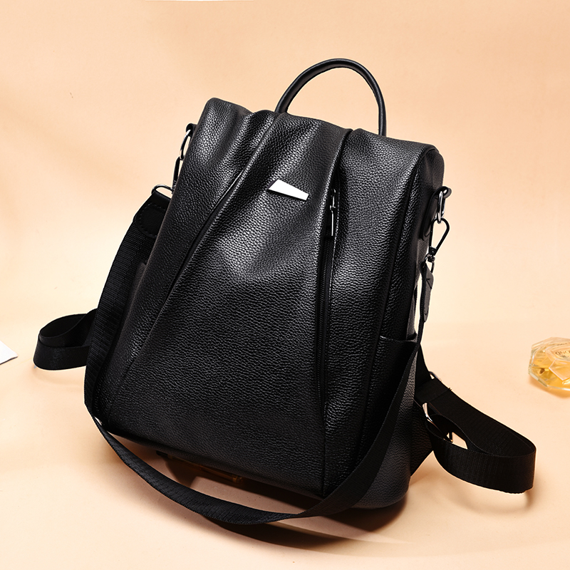 2019 New PU backpack women shoulder school bags for teenagers Vintage leather Anti theft backpack Mochila Mujer backpack lady in Backpacks from Luggage Bags