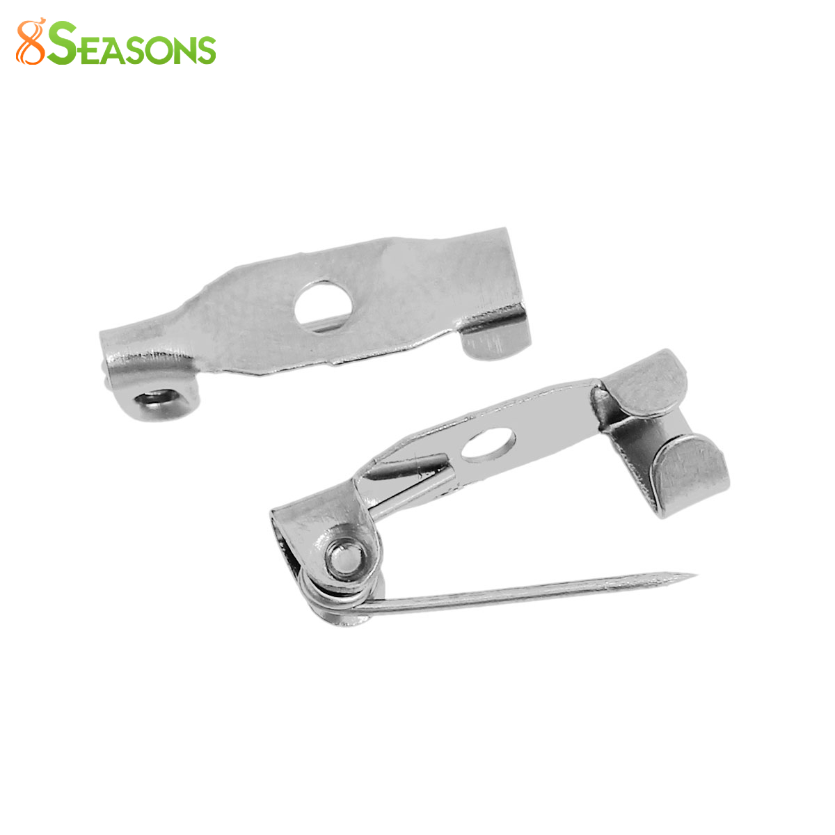 8SEASONS Iron Based Alloy Safety Pins Brooches Findings silver-color 15mm( 5/8) x 4mm( 1/8), 100 PCs