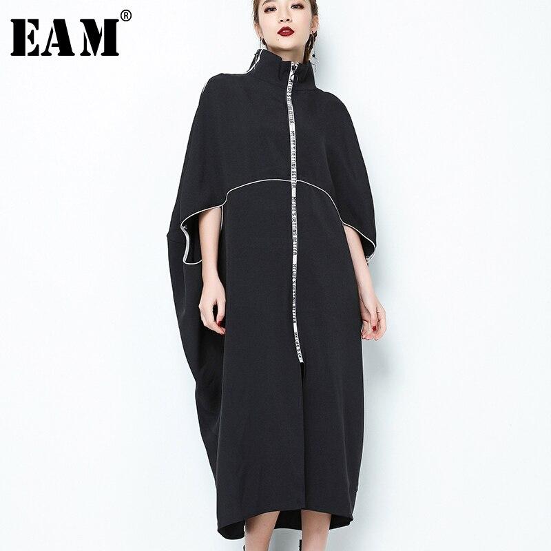 [EAM] 2019 New Spring  Stand Collar Long Sleeve Black Letter Zipper Irregular Big Size Solid Dress Women Fashion Tide JE65001