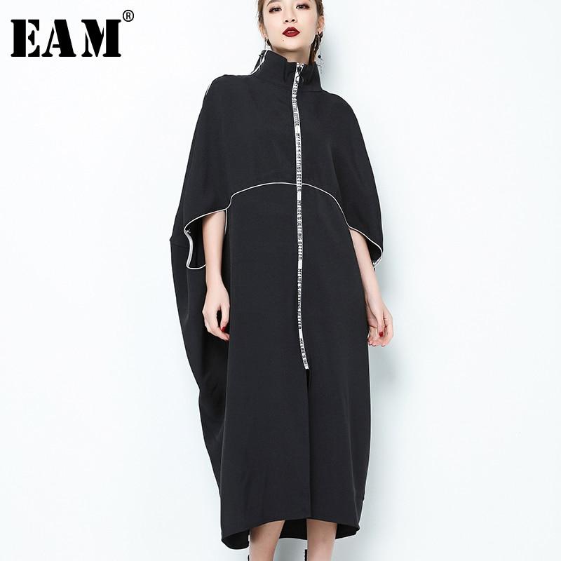 [EAM] 2020 New Spring  Stand Collar Long Sleeve Black Letter Zipper Irregular Big Size Solid Dress Women Fashion Tide JE65001