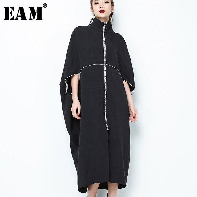 [EAM] 2020 חדש אביב צווארון עומד ארוך שרוול שחור מכתב רוכסן סדיר גדול גודל מוצק שמלת נשים אופנה גאות JE65001